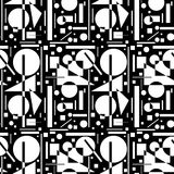 Seamless pattern with geometric shapes on a black background. Stock Photography