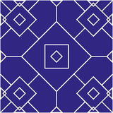 Seamless pattern with geometric shapes. On blue background Stock Photography