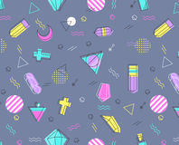 Seamless pattern of geometric shapes in memphis style. Stock Images