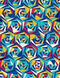 Seamless pattern from geometric shapes. Optical illusion of motion. Seamless pattern from geometric shapes. Rotation of triangles. Optical illusion of motion Stock Image