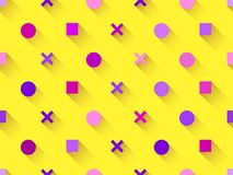 Seamless pattern with geometric shapes, square, circle with shadow on a yellow background. Purple, burgundy and pink. Vector Stock Photo
