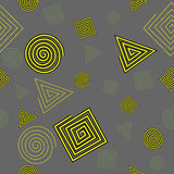 Seamless pattern of geometric shapes. Squares, triangles and circles vector illustration