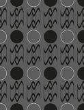 Seamless pattern with geometric shapes and symbols. On a dark background Stock Illustration