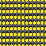 Seamless pattern with geometric shapes and symbols. Yellow and black colors on a grey background Royalty Free Illustration