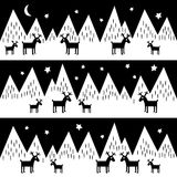 Seamless pattern with geometric snowy mountains and reindeers. Black and white nature illustration. Stock Images