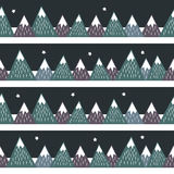 Seamless pattern with geometric snowy mountains and stars. Royalty Free Stock Images
