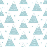 Seamless pattern with geometric snowy mountains and stars. Stock Photo