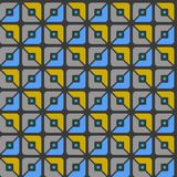 Seamless pattern, geometric, squares, blue, yellow, grey halves, background. Geometric, seamless pattern, blue, grey and yellow halves of squares. For print and Royalty Free Stock Photo