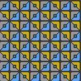 Seamless pattern, geometric, squares, blue, yellow, grey halves, background. Royalty Free Stock Photo