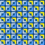 Seamless pattern, geometric, squares, blue, yellow, halves, background. Royalty Free Stock Photos