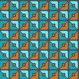 Seamless pattern, geometric, squares, brown, blue-green, halves, background. Royalty Free Stock Images
