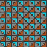 Seamless pattern, geometric, squares, brown, grey, blue, halves, background. Geometric, seamless pattern, brown, gray and turquoise halves of squares on a dark Royalty Free Stock Photos