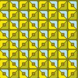 Seamless pattern, geometric, squares, yellow, green, blue, halves, background. Royalty Free Stock Photography