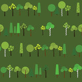 Seamless pattern with geometric trees on a dark green background. Stock Photography
