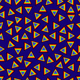 Seamless pattern geometric with triangles in mixed orders rainbow colored plus black vibrant blue background modern abstract artis. Tic image Stock Photos