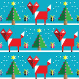 Seamless pattern with geometrical  fox , snow , Christmas trees with  lights and babbles Christmas gifts in two shades on blue Royalty Free Stock Image