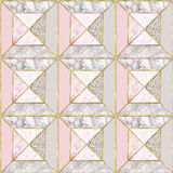 Seamless pattern - Geometrical Pink marble background with gold trims royalty free stock photos