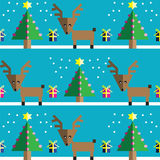Seamless pattern with geometrical Reindeer, gifts with ribbon, snow, Christmas trees with  pink lights and star element. In two shades on light blue background Stock Images