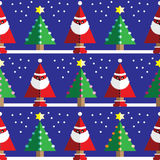 Seamless pattern with geometrical Santa Claus, snow , Christmas trees with  light blue, orange, pink lights and star element. In two shades on dark blue Stock Photo