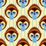 Seamless pattern of geometrically stylized monkey head Stock Photos