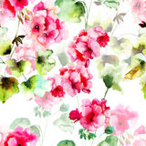 Seamless pattern with geranium flowers Stock Photography
