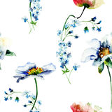 Seamless pattern with Gerber and Poppy flowers Royalty Free Stock Photos
