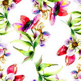 Seamless pattern with Gerber and Tulips flowers. Watercolor painting Stock Photo