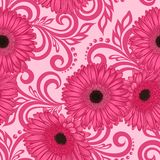 Seamless pattern with gerbera flowers and abstract floral swirls Royalty Free Stock Photography