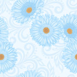 Seamless pattern with gerbera flowers and abstract floral swirls Stock Photo
