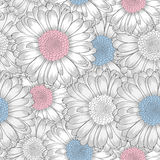 Seamless  pattern with gerbera flowers. Stock Photo