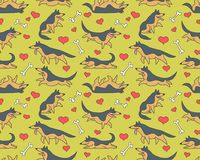 Seamless  pattern with german shepherds. Seamless  patterm with funny cartoon german shepherd dogs and bones and hearts Royalty Free Stock Photography