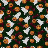 Seamless pattern ghost and pumpkin Halloween Royalty Free Stock Images