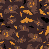 Seamless pattern of ghosts and bats. Vector Royalty Free Stock Image