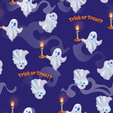 Seamless pattern with ghosts for halloween. Trick or treat. Vector illustration Stock Photos