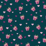 Seamless pattern with gift box and bow with heart love. For feast valentine`s day holidayon a blue background royalty free illustration