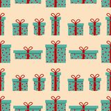 Seamless pattern of gift box with decorative hearts. Vector illustartion can be used for background, holiday packing. vector illustration