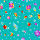 Seamless pattern gift box for holiday presents with ribbons and bows, christmas presents background, happy birthday or Stock Photos
