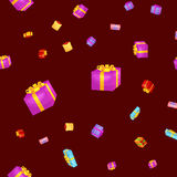 Seamless pattern gift box for holiday presents with ribbons and bows, christmas presents background, happy birthday or Royalty Free Stock Photo
