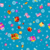 Seamless pattern gift box for holiday presents with ribbons and bows, christmas presents background, happy birthday or Stock Images