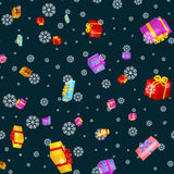 Seamless pattern gift box for holiday presents with ribbons and bows, christmas presents background, happy birthday or Royalty Free Stock Image