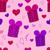 Seamless pattern with gift boxed and hearts Royalty Free Stock Photos