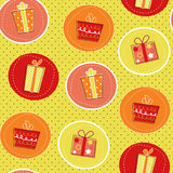 Seamless pattern with gift boxes. On polka dot background, paper wrapper Stock Photography