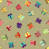 Seamless pattern with gift boxes Stock Images