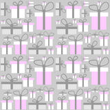 Seamless pattern gift boxes Stock Photos