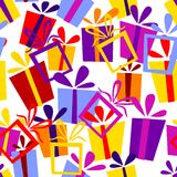 Seamless pattern with gift boxes. Editable and easy color change Royalty Free Stock Photos