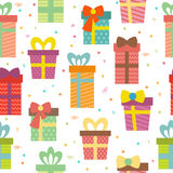 Seamless pattern with gift boxes. Birthday presents background Royalty Free Stock Image