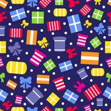 Seamless pattern with gift boxes and bows vector Stock Image