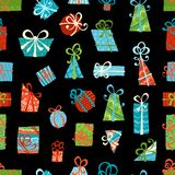 Seamless pattern of gift boxes. Bright various boxes on black background. Vector illustration Stock Photos