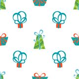 Seamless  pattern of gift boxes. Bright boxes on white background Stock Image