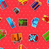 Seamless pattern with gift boxes. Seamless celebration pattern with sticker gift boxes royalty free illustration
